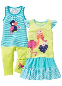 Top + T-shirt + jupe + legging 3/4 (Ens. 4 pces.), bpc bonprix collection, turquoise/vert kiwi