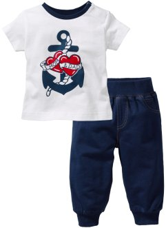 T-shirt + pantalon sweat (Ens. 2 pces.) en coton bio, bpc bonprix collection