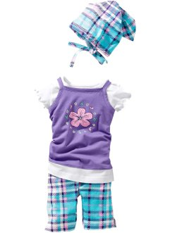Robe + T-shirt + legging + foulard (Ens. 4 pces.) en coton bio, bpc bonprix collection