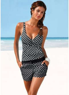 Top de tankini, bpc bonprix collection, noir/blanc à pois