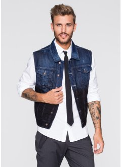 Gilet en jean Slim Fit, RAINBOW, bleu used