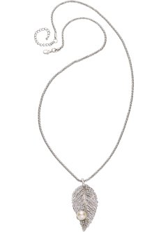 Long collier avec feuille + perle, bpc bonprix collection