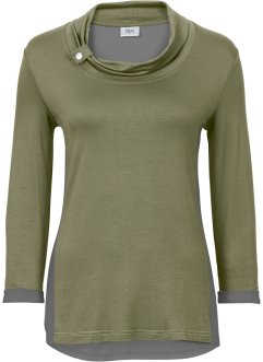 T-shirt manches 3/4, bpc bonprix collection, olive/gris fumée