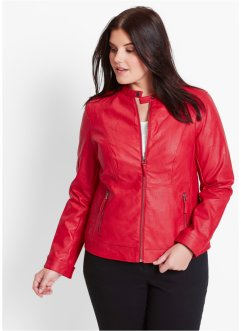 Veste synthétique imitation cuir, bpc bonprix collection, rouge