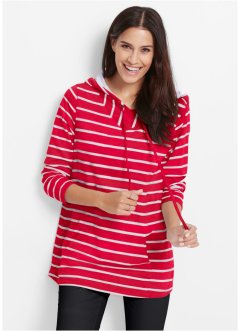 Sweat-shirt long manches longues, bpc bonprix collection, rouge rayé