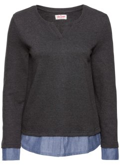 Sweat-shirt style 2 en 1, John Baner JEANSWEAR, anthracite chiné