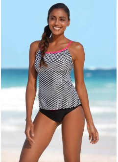 Tankini (Ens. 2 pces.), bpc bonprix collection, noir/blanc