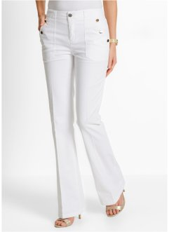 Pantalon stretch, bootcut, bpc selection, blanc