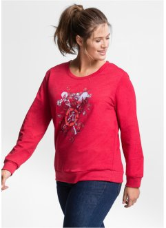 Sweat-shirt manches longues imprimé, John Baner JEANSWEAR, rouge chiné