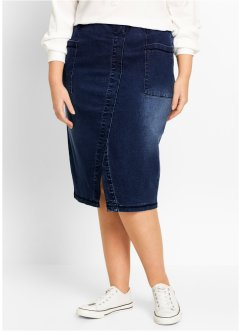 Jupe en jean fendue, bpc bonprix collection, dark denim