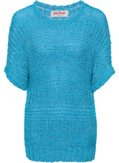 Pull en maille ruban demi-manches, John Baner JEANSWEAR, turquoise chiné