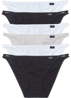 Lot de 6 tangas, bpc bonprix collection, noir+blanc+gris