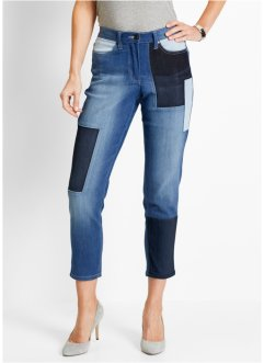 Jean extensible 7/8 patchwork, bpc selection, bleu stone