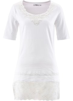 T-shirt long manches mi-longues, bpc bonprix collection, blanc