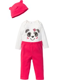 Body bébé à manches longues + pantalon + bonnet (Ens. 3 pces.) en coton bio, bpc bonprix collection, blanc cassé/rose