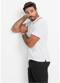 Polo Regular Fit, bpc bonprix collection, blanc à pois