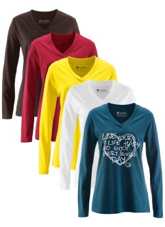 Lot de 5 T-shirts longs col V à manches longues, bpc bonprix collection