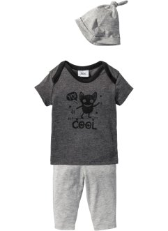 T-shirt + pantalon + bonnet bébé (Ens. 3 pces.) coton bio, bpc bonprix collection