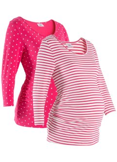 Lot de 2 T-shirts de grossesse imprimés en coton bio, bpc bonprix collection