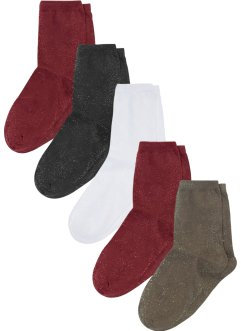 Lot de 5 paires de chaussettes femme à fil brillant, bpc bonprix collection