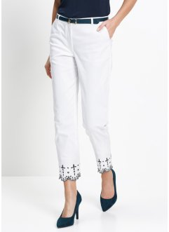 Pantalon extensible 7/8 avec broderie, bpc selection