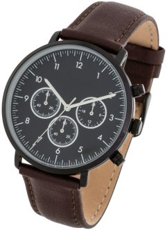 Montre chrono avec bracelet cuir, bpc bonprix collection