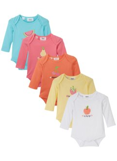 Lot de 5 bodies bébé manches longues en coton bio, bpc bonprix collection