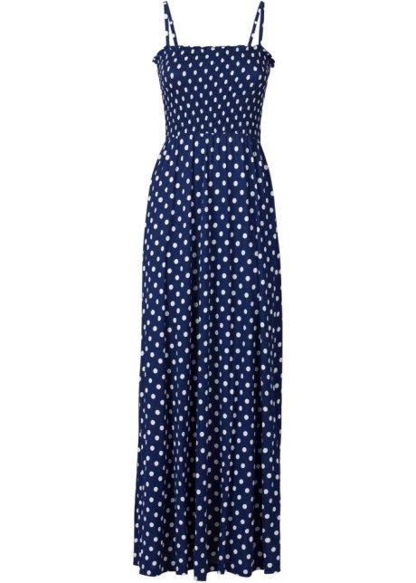 f74ea4570e8 Robe longue bleu nuit blanc à pois - Femme - bonprix-wa.be