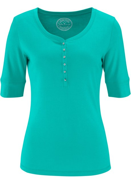 0905f2382e2c9 T-shirt demi-manches avec patte de boutons vert océan - Femme ...