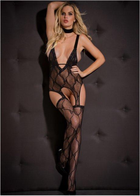 Caraco Portejarretelles Bas Noir Femme Bonprixwabe - Femme en porte jarretelle