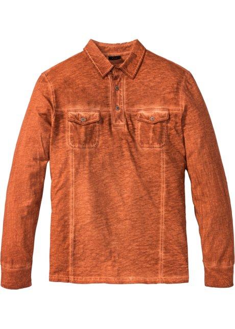 Polo manches longues Regular Fit orange foncé - Homme - bonprix-wa.be e4ea1aa0b145