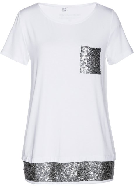 8e1a8a5ef99a T-shirt à paillettes blanc argenté - Femme - bonprix-wa.be
