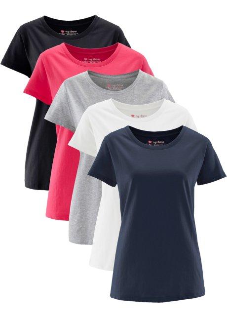 Cinq t-shirts longs avec encolure ronde et manches courtes - rose ... 5d79e6dc833