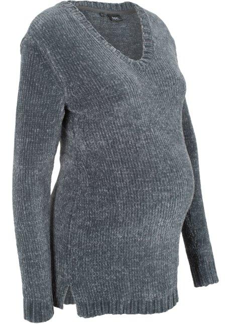 9a9b924b6b52c Pull de grossesse en maille chenille anthracite - Femme - bonprix-wa.be