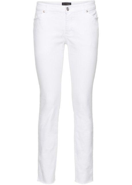 Pantalon extensible 7 8 avec franges blanc - Femme - BODYFLIRT ... f7243cbfdcc1
