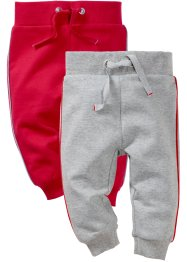 Lot de 2 pantalons en coton bio, bpc bonprix collection, gris clair chiné/rouge