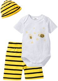 Body bébé + short + bonnet (Ens. 3 pces.) coton bio, bpc bonprix collection, blanc/jaune citron Abeille