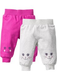 Lot de 2 pantalons sweat bébé coton bio, bpc bonprix collection, écru chiné/fuchsia