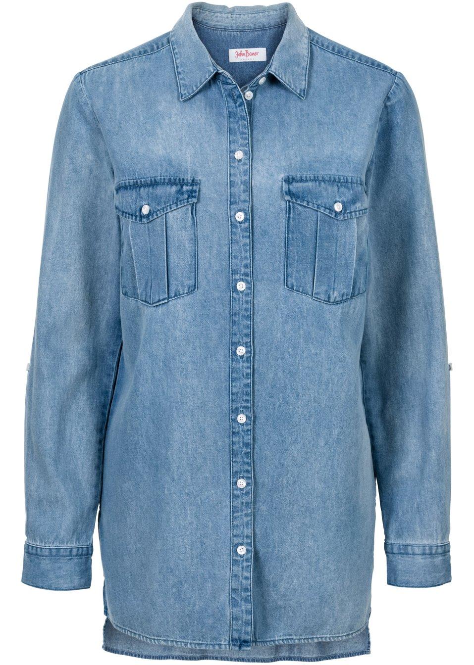 chemise en jean extra longue manches longues bleu clair john baner jeanswear acheter online. Black Bedroom Furniture Sets. Home Design Ideas