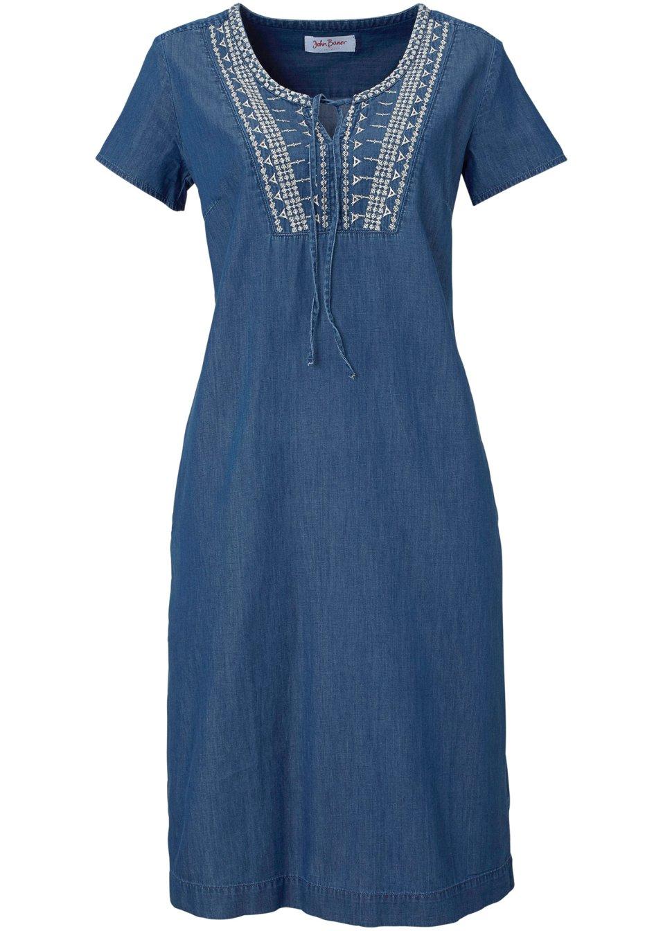 robe en jean avec broderie manches courtes bleu john. Black Bedroom Furniture Sets. Home Design Ideas