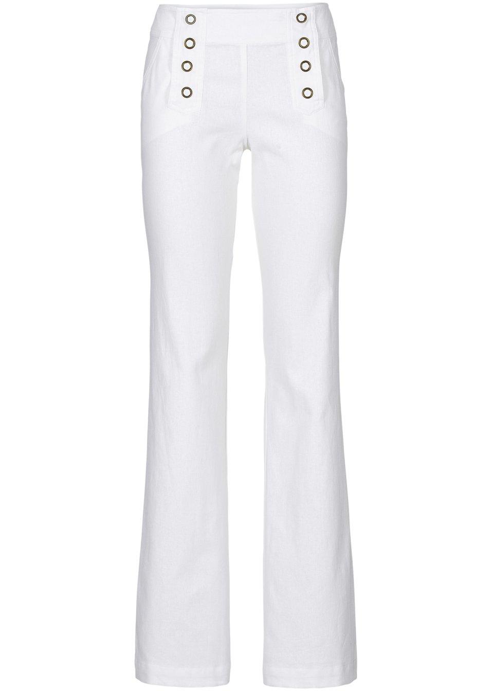 Pantalon mélangé lin blanc cassé - Femme - BODYFLIRT boutique - bonprix -wa.be